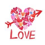De waterverfhand schilderde hartvorm met kleine rode en roze harten binnen en pijl vector illustratie