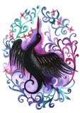 De waterverfhand schilderde silhouet van een zwarte ooievaar in een bloemkader in viooltje Royalty-vrije Stock Foto's