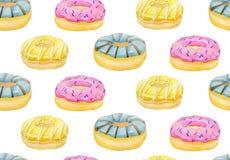 De waterverfhand schilderde zoete en smakelijke die doughnut met room wordt verglaasd en het bestrooien van banketbakkerij Royalty-vrije Stock Fotografie