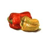 De waterverfhand schilderde zoete rode en gele peper Royalty-vrije Stock Foto