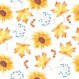 De waterverfhand trekt het schilderen naadloos patroon met herfstbladeren en zonnebloemen royalty-vrije illustratie