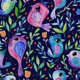 De waterverfhand trekt naadloze achtergrond met vogels stock illustratie