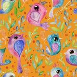 De waterverfhand trekt naadloze achtergrond met vogels vector illustratie