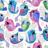 De waterverfhand trekt naadloze patroonachtergrond met vogels stock illustratie