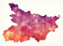 De waterverfkaart van de Biharstaat van India voor een wit Royalty-vrije Stock Foto