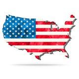 De waterverfkaart van de V.S. met vlag Stock Fotografie
