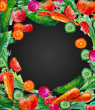De waterverfkaart van de waterverfsamenstelling met groentenillustratie Royalty-vrije Stock Afbeeldingen