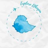 De waterverfkaart van Ethiopië in turkooise kleuren Stock Fotografie