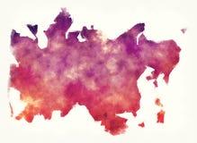 De waterverfkaart van het Midtjyllandgebied van Denemarken voor een wit stock foto's