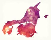 De waterverfkaart van het Nordjyllandgebied van Denemarken voor een wit stock foto's