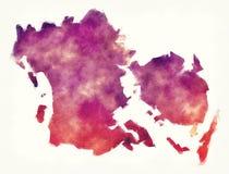 De waterverfkaart van het Syddanmarkgebied van Denemarken voor een wit royalty-vrije stock fotografie