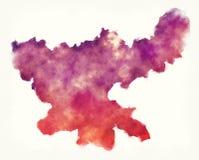 De waterverfkaart van de Jharkhandstaat van India voor een wh Stock Fotografie