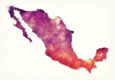 De waterverfkaart van Mexico voor een witte achtergrond Stock Foto's