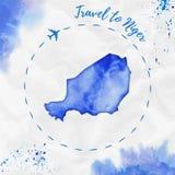De waterverfkaart van Niger in blauwe kleuren Stock Afbeelding
