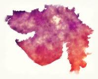 De waterverfkaart van de staat van Gujarat van India voor whit Royalty-vrije Stock Afbeelding