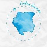 De waterverfkaart van Suriname in turkooise kleuren Stock Foto