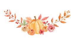 De waterverfpompoenen overspannen Bloemenhand Geschilderde Daling Autumn Bouquet stock illustratie