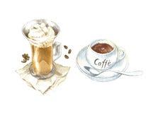 De waterverfschets van koffiekoppen Stock Afbeeldingen