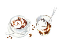 De waterverfschets van koffiekoppen Royalty-vrije Stock Foto's
