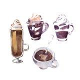 De waterverfschets van koffiekoppen Stock Afbeelding