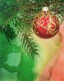 De waterverfstijl van de Kerstmisbal stock illustratie