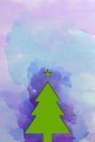 De waterverftextuur van de kerstboom â Stock Afbeeldingen