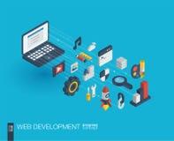 De Webontwikkeling integreerde 3d pictogrammen De groei en vooruitgangsconcept royalty-vrije illustratie