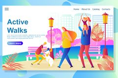 De webpaginaontwerpsjabloon toont Gelukkige Familiegang in het park die, die en met de hond rusten spelen vector illustratie