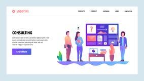 De website onboarding schermen Bedrijfs het raadplegen en van de bureauvergadering presentatie Malplaatje van de menu het vectorb royalty-vrije illustratie