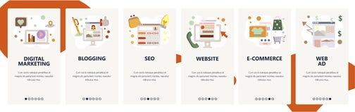 De website onboarding schermen Digitale marketing, SEO en online het winkelen Malplaatje van de menu het vectorbanner voor websit royalty-vrije illustratie