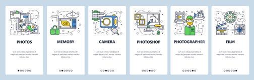 De website onboarding schermen Fotocamera, geheugenkaart die, foto's software uitgeven Malplaatje van de menu het vectorbanner vo vector illustratie