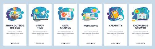 De website onboarding schermen Onderwijs, kennis, het bestuderen en creativiteit Malplaatje van de menu het vectorbanner voor web stock illustratie