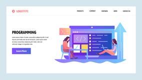 De website onboarding schermen Programmeurs die softwaretoepassing coderen Malplaatje van de menu het vectorbanner voor website e royalty-vrije illustratie