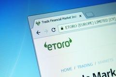 De website van de EToromakelarij stock fotografie