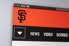 De websitehomepage van het honkbalteam San Francisco Giants Sluit omhoog van teamembleem royalty-vrije stock foto
