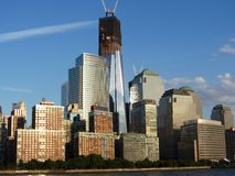 De Wederopbouw van het World Trade Center van de Rivier Hudson Royalty-vrije Stock Afbeeldingen