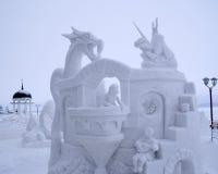 De Wedstrijd van het Beeldhouwwerk van de sneeuw aan Hyperborea in Petrozavodsk Royalty-vrije Stock Foto's