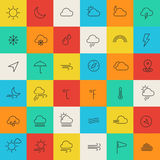 De weerlijn verdunt pictogrammen Royalty-vrije Stock Afbeeldingen