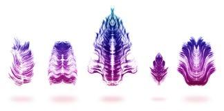 De weerspiegelde Verf borstelde Kleurrijke Feahters Stock Foto