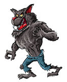 De weerwolf van het beeldverhaal met klauwen en tanden royalty-vrije illustratie