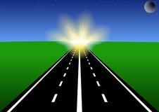 De weg aan de zon. Royalty-vrije Stock Afbeeldingen