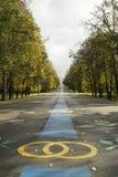 De weg aan het park voor newlymeds Royalty-vrije Stock Afbeeldingen