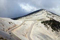 De weg aan piek van Mont Ventoux Stock Foto