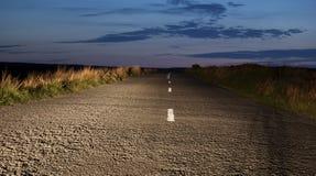 De weg bij nacht Stock Foto
