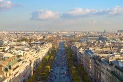 De weg des Champs-Elysees, Parijs Stock Afbeelding
