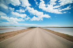De weg die naar de afstand in de steppe gaan Stock Afbeelding