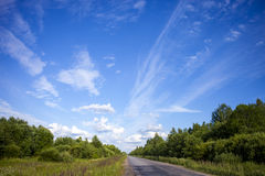 De weg en de wolken Royalty-vrije Stock Fotografie
