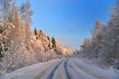 De weg in het koninkrijk van de Sneeuwkoningin Stock Fotografie