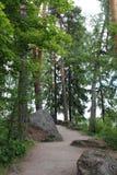 De weg in het Monrepo-Park in Vyborg Royalty-vrije Stock Afbeeldingen
