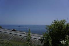 De weg langs de Stille Baai vladivostok Royalty-vrije Stock Foto